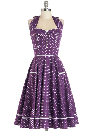 Boysenberry Buckle Dress - Purple, White, Polka Dots, Pockets, Trim, Daytime Party, Rockabilly, Pinup, Vintage Inspired, 50s, Fit & Flare, Halter, Better, International Designer, Sweetheart, Woven, Variation, Gifts Sale, Long