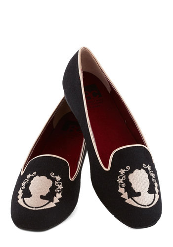 The Perfect Stitch Flat in Cameo by BC Shoes - Black, Print, Embroidery, Menswear Inspired, Flat, Better, French / Victorian, Variation, Top Rated