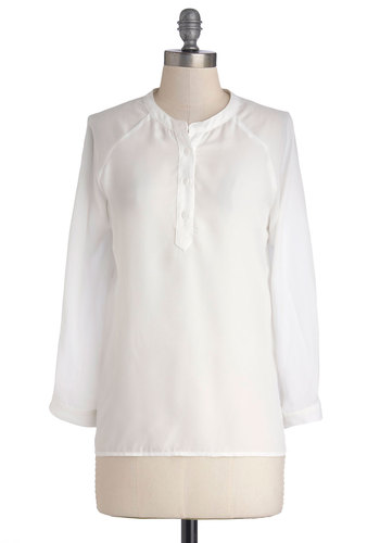 Take Your Word for Lit Top - Chiffon, Sheer, Woven, Mid-length, White, Solid, Work, French / Victorian, Long Sleeve, Good, Buttons, White, Long Sleeve