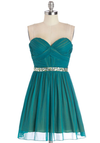 Captivating Charisma Dress - Solid, Rhinestones, Prom, Party, A-line, Strapless, Better, Sweetheart, Knit, Blue