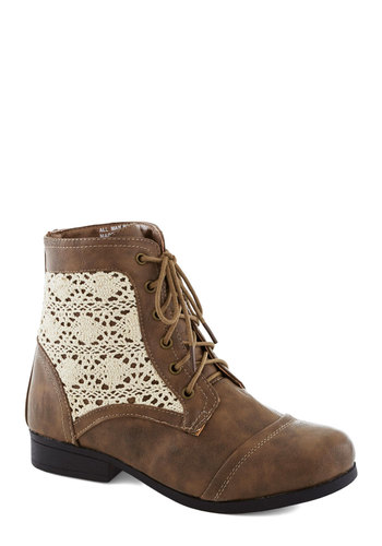 Luxurious Landscape Boot - Tan, Tan / Cream, Crochet, Boho, Low, Good, Lace Up, Faux Leather, Folk Art, Festival
