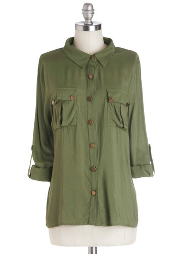 Oregano All About It Top - Mid-length, Woven, Green, Solid, Buttons, Pockets, Safari, 3/4 Sleeve, Good, Collared, Casual, Military, Button Down, Gifts Sale, Green, Tab Sleeve