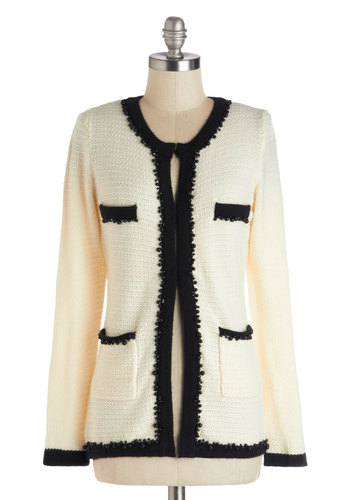 In with the Luncheon Crowd Cardigan - Mid-length, Knit, Black, Beads, Pockets, Trim, 30s, Long Sleeve, Cream, Daytime Party, Vintage Inspired, White, Long Sleeve, Work, Black