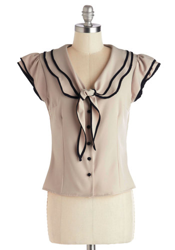 Up for Sailing Top - Chiffon, Woven, Cream, Black, Buttons, Trim, Tie Neck, Nautical, Cap Sleeves, Better, Collared, Ruffles, Work, Vintage Inspired, 40s, 50s, White, Short Sleeve, Short