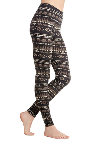 Adventurous Heart Leggings - Cotton, Knit, Black, Tan / Cream, Grey, Safari, Good, Print with Animals