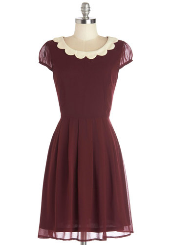 Surprise Me Dress in Burgundy - Mid-length, Woven, Red, Tan / Cream, Solid, Scallops, Casual, Vintage Inspired, A-line, Variation, Sheer