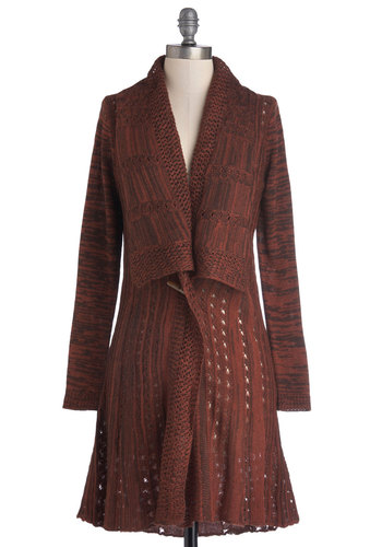 Red Rockin' It Cardigan by Nick & Mo - Sheer, Knit, Brown, Buttons, Boho, 70s, Long Sleeve, Better, Red, Knitted, Casual, Vintage Inspired, Brown, Long Sleeve, Long