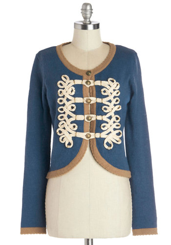 Le Cord On Blue Cardigan by Nick & Mo - Short, Knit, Blue, Brown, Tan / Cream, Braided, Buttons, Military, Long Sleeve, Better, Scoop, Blue, Long Sleeve