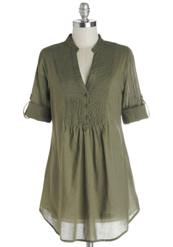 Back Road Ramble Top in Olive - Green, Solid, Buttons, Casual, Good, Long, Cotton, Woven, Boho, 3/4 Sleeve, Variation, Green, Tab Sleeve