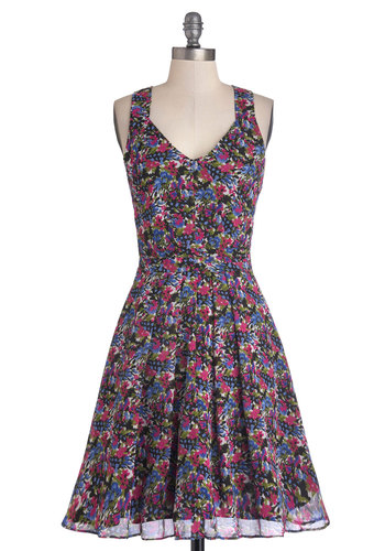 Botanical Date Dress - Chiffon, Woven, Mid-length, Multi, Floral, Party, A-line, Racerback, Good, V Neck, Belted