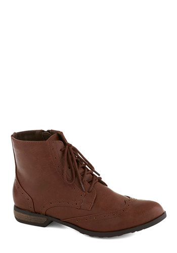 Expert Spokesperson Bootie by Chelsea Crew - Low, Solid, Better, Lace Up, Brown, Casual, Menswear Inspired, Faux Leather