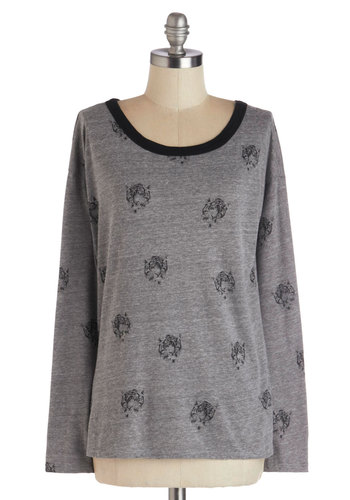 But I Tigress Top - Grey, Print with Animals, Long Sleeve, Better, Mid-length, Knit, Black, Scoop, Grey, Long Sleeve