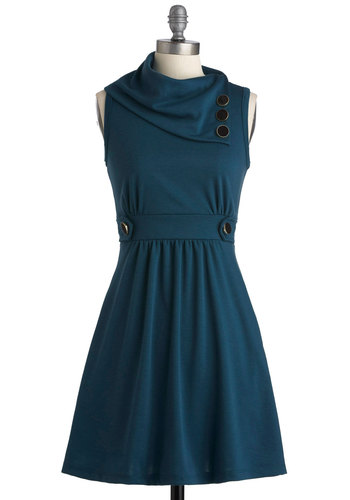 Coach Tour Dress in Sea Blue - Knit, Short, Blue, Solid, Buttons, Casual, A-line, Sleeveless, Good, Cowl, Pockets, Variation, Folk Art, Winter