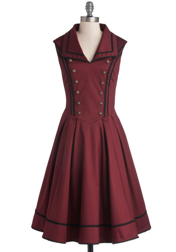 Literary Historian Dress - Red, Black, Solid, Buttons, Pleats, Casual, Steampunk, A-line, Sleeveless, Better, International Designer, Collared, Cotton, Woven, Long, Trim, Military