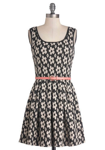 Fun in Flowerets Dress - Knit, Short, Pink, Tan / Cream, Black, Floral, Belted, Casual, A-line, Tank top (2 thick straps), Scoop