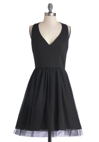 Delight at First Sight Dress - Mid-length, Knit, Woven, Black, Solid, Cutout, Cocktail, A-line, Sleeveless, Good, V Neck, Party, LBD