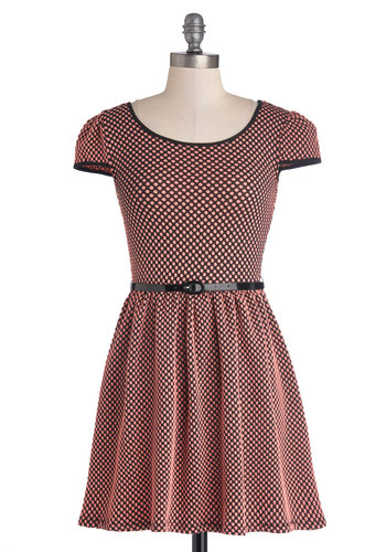 Sugar and Spicy Dress - Short, Knit, Pink, Black, Polka Dots, Belted, Casual, A-line, Cap Sleeves, Scoop