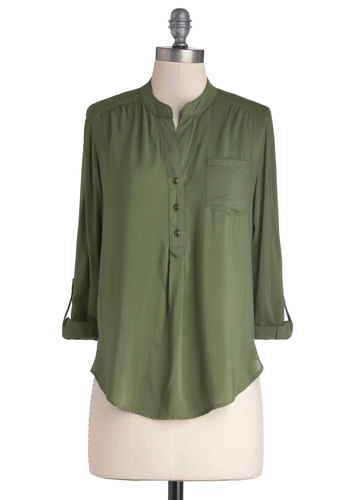 Saturday To-Do List Top - Woven, Mid-length, Green, Solid, Buttons, Pockets, Safari, 3/4 Sleeve, Good, Collared, Casual, Green, Tab Sleeve