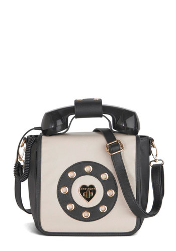 Betsey Johnson Collect Calls Bag by Betsey Johnson - Solid, Quirky, Better, Faux Leather, Black, White