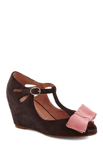 Bow-town Favorites Wedge in Warm Grey by Jeffrey Campbell - Grey, Pink, Bows, Mid, Suede, Best, Wedge, Leather, Cutout, T-Strap, Variation
