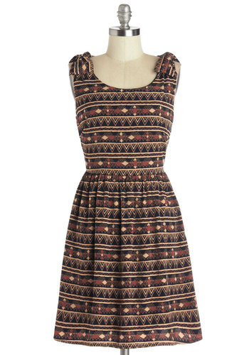 Museum Happy Hour Dress - Red, Tan / Cream, Print, Bows, Casual, A-line, Tank top (2 thick straps), Good, Scoop, Chiffon, Woven, Mid-length, Multi, Gifts Sale