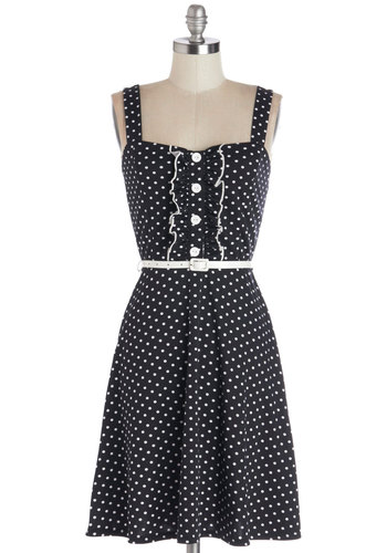 Spontaneous Spins Dress in Dots - Jersey, Knit, Black, White, Polka Dots, Buttons, Ruffles, Belted, Casual, A-line, Spaghetti Straps, Good, Sweetheart, Vintage Inspired, Variation, Sundress, Top Rated, Mid-length