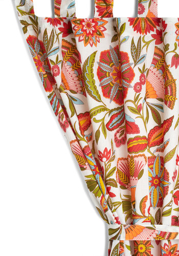 Cheer as Folk Curtain by Karma Living - Cotton, Woven, Multi, Boho, Dorm Decor, Better, Floral, Summer