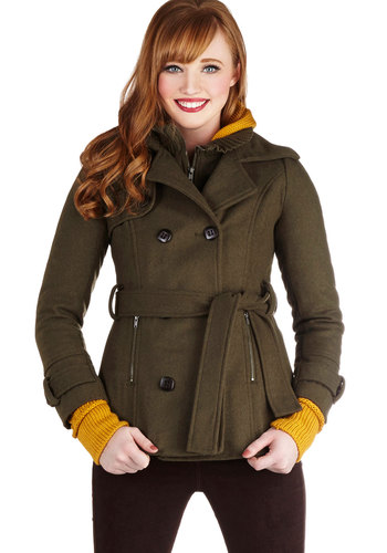 Take a Peak Coat - Mid-length, 3, Green, Solid, Buttons, Pockets, Belted, Military, Double Breasted, Long Sleeve, Fall, Winter, Green