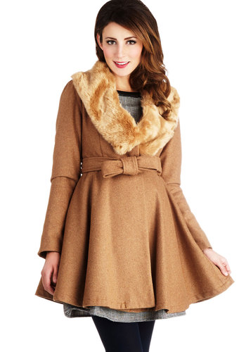 Beacon Hill Coat - Faux Fur, 3, Tan, Solid, Belted, Vintage Inspired, Long Sleeve, Winter, Brown, Long