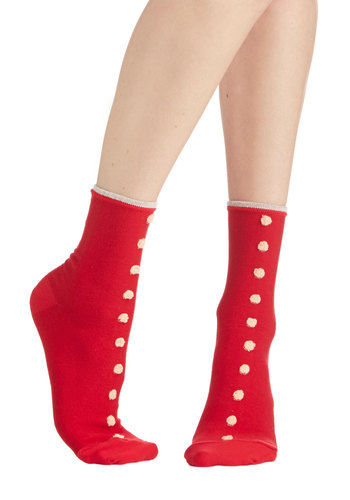 Spot the Style Socks - Red, White, Solid, Trim, Knit, Polka Dots, Casual, Folk Art