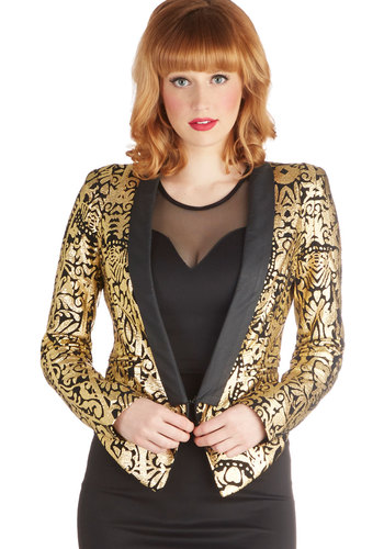 Best of the Beth Jacket - Gold, Long Sleeve, Good, Faux Leather, Mid-length, 1, Print, Party, Holiday Party, Luxe, Multi