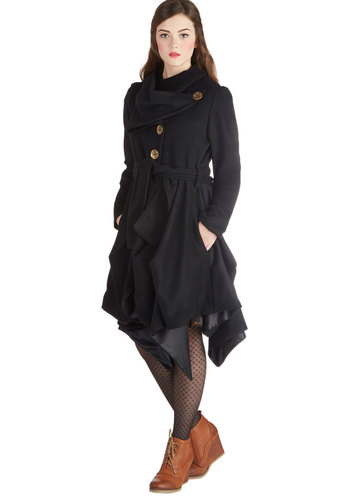 Run the Showroom Coat in Black - Long, 3, Black, Solid, Buttons, Pockets, Long Sleeve, Best, International Designer, Cowl, Handkerchief, Belted, Winter, Black