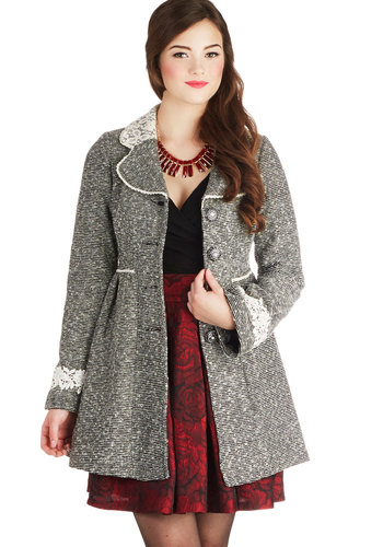 Ladylike Lineage Coat by Ryu - Long, Woven, 2, Buttons, Lace, Pockets, Long Sleeve, Black, Grey
