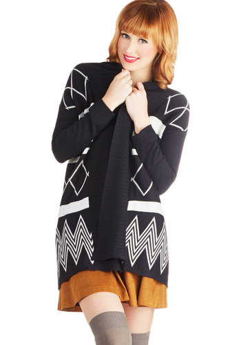 Geometric Splendor Cardigan - Long Sleeve, Better, Mid-length, Knit, White, Rustic, Black, Print, Casual, Black, Long Sleeve