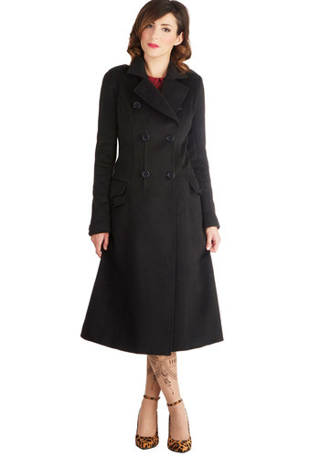 At the Operetta Coat - Long, 3, Black, Solid, Buttons, Epaulets, Pockets, 40s, Double Breasted, Long Sleeve, Good, Collared, Film Noir, Vintage Inspired, Black