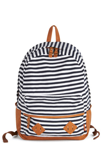 Print Library Backpack - Tan / Cream, Stripes, Scholastic/Collegiate, Good, Cotton, Faux Leather, Black, White, Travel