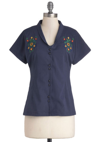 Lighthearted Look Top by Bea & Dot - Blue, Solid, Work, Vintage Inspired, 50s, Short Sleeves, Exclusives, Private Label, Mid-length, Woven, Buttons, Embroidery, Casual, Collared, Blue, Short Sleeve, Spring