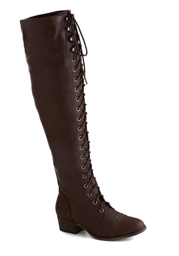 Campsite Staple Boot in Brown - Brown, Solid, Steampunk, Low, Better, Lace Up, Faux Leather, Fall, Variation