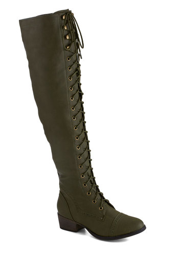 Campsite Staple Boot in Olive - Green, Solid, Steampunk, Low, Better, Lace Up, Faux Leather, Fall, Variation