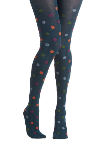 That Hit the Dot Tights in Teal - Blue, Multi, Polka Dots, Fall, Winter, Better, Knit, Variation
