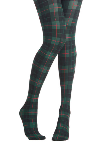 Extracurricular Edge Tights - Knit, Sheer, Green, Multi, Plaid, Fall, Winter, Better, Scholastic/Collegiate, 90s
