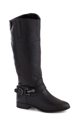 Go for a Stride Boot by Dolce Vita - Low, Leather, Black, Buckles, Better, Solid