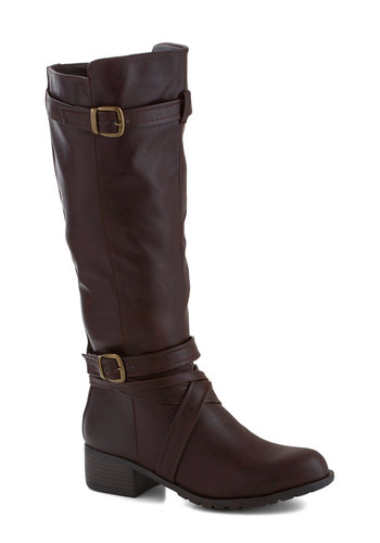 Ready to Venture Out Boot - Low, Faux Leather, Brown, Buckles, Better, Solid, Fall