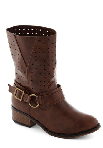 Side by Sidekick Boot - Low, Faux Leather, Brown, Buckles, Cutout, Good, Casual, Fall