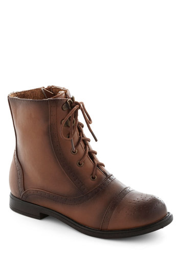 Becoming Together Boot - Low, Faux Leather, Brown, Menswear Inspired, Good, Lace Up, Solid, Rustic