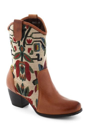 Tapestry Dance Boot - Mid, Leather, Woven, Tan, Best, Multi, Print, Folk Art