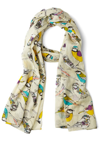 Comely Chirps Scarf by Disaster Designs - Cotton, Sheer, Woven, Cream, Multi, Print with Animals, Better, International Designer, Spring