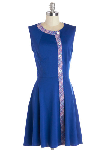 Style Syllabus Dress - Blue, Red, White, Solid, Buttons, Work, A-line, Vintage Inspired, 60s, Sleeveless, Trim, Casual, Mid-length, Exclusives, Scholastic/Collegiate, Top Rated