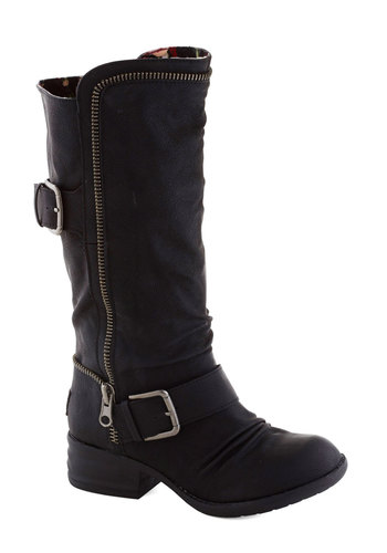 Let It Ride Boot - Low, Faux Leather, Black, Solid, Buckles, Exposed zipper, Better, Urban