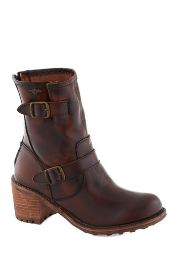 All in Stride Boot - Mid, Leather, Brown, Buckles, Steampunk, Better, Chunky heel, Solid, Rustic